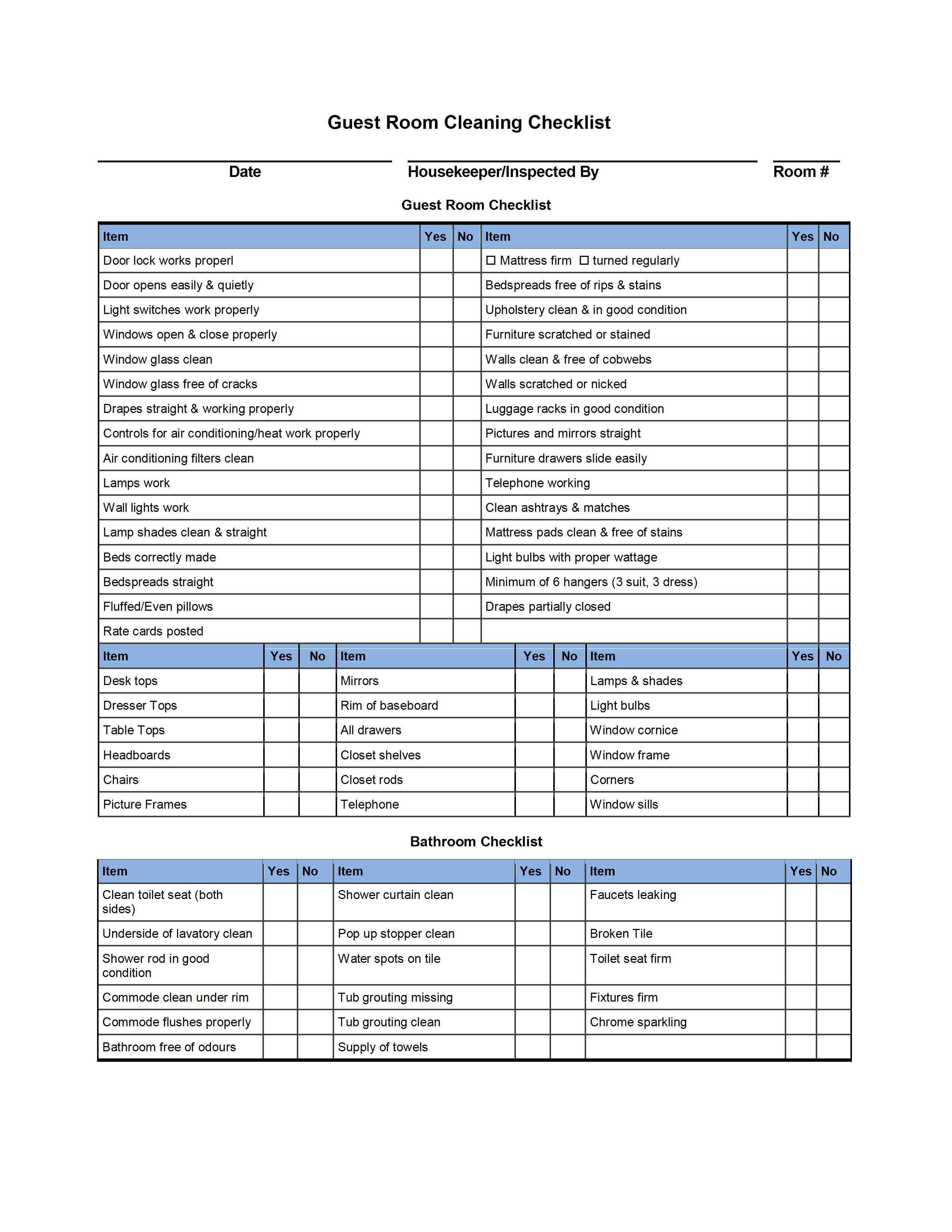 Hotel Room Cleaning Checklist Templates external house cleaning ...