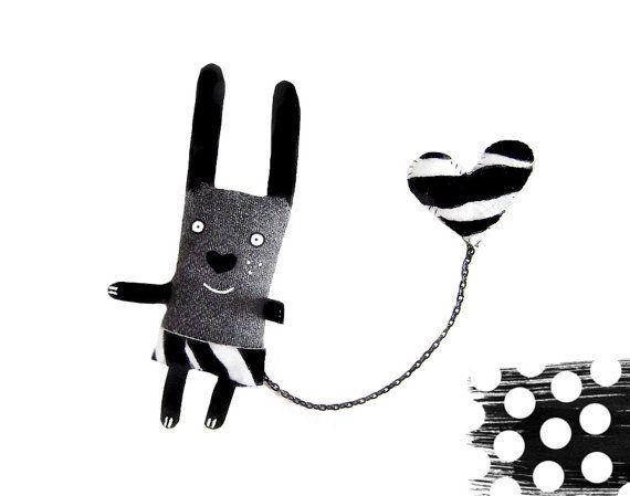Bunny brooch, zebra print, cute rabbit brooch, bunny pin