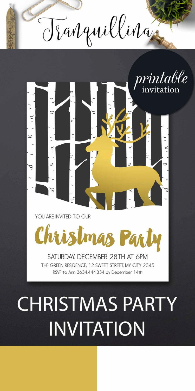 Holiday party invitation christmas invitation deer winter invitations printable christmas party gold black pinned by pin4etsy com