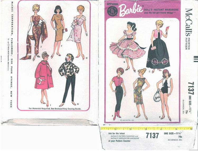 Free Copy of Pattern - McCalls 7137 | Barbie Patterns - McCall\'s ...