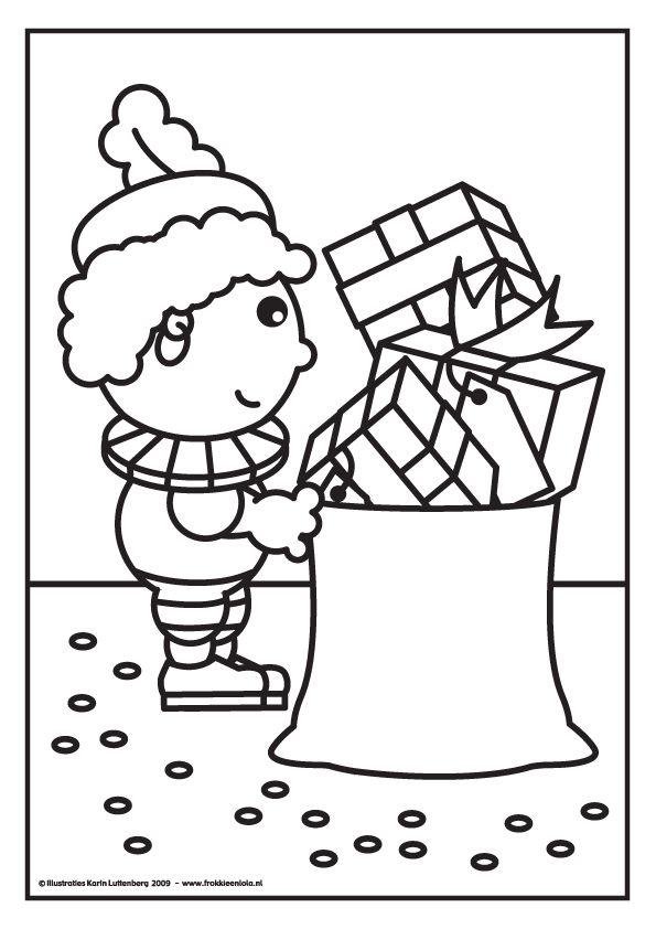 Kleurplaten Sinterklaas Slingers.Kleurplaat Zwarte Piet Met Cadeautjes Sinterklaas