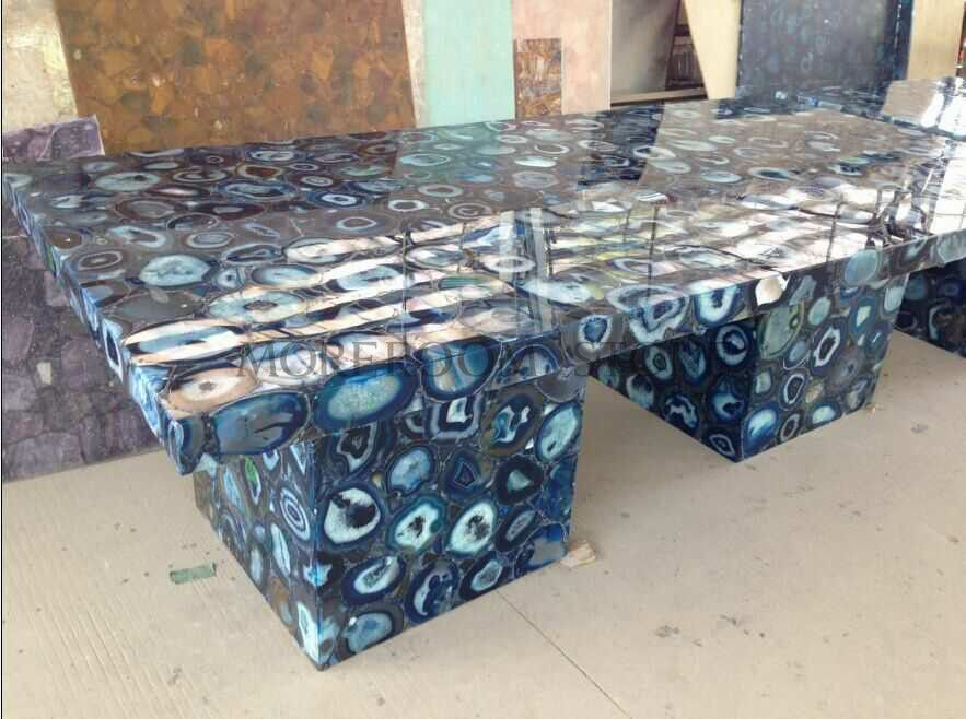Blue Agate Table  Foshan Moreroom Stone Co.,Ltd  Aggie Chan  Tel:86-13923220432  Email:sales04@moreroomstone.com