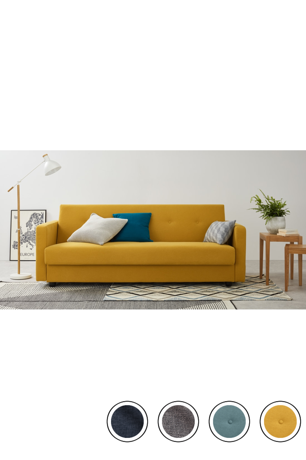 MADE butter yellow Sofa bed Sofa bed with storage, Sofa