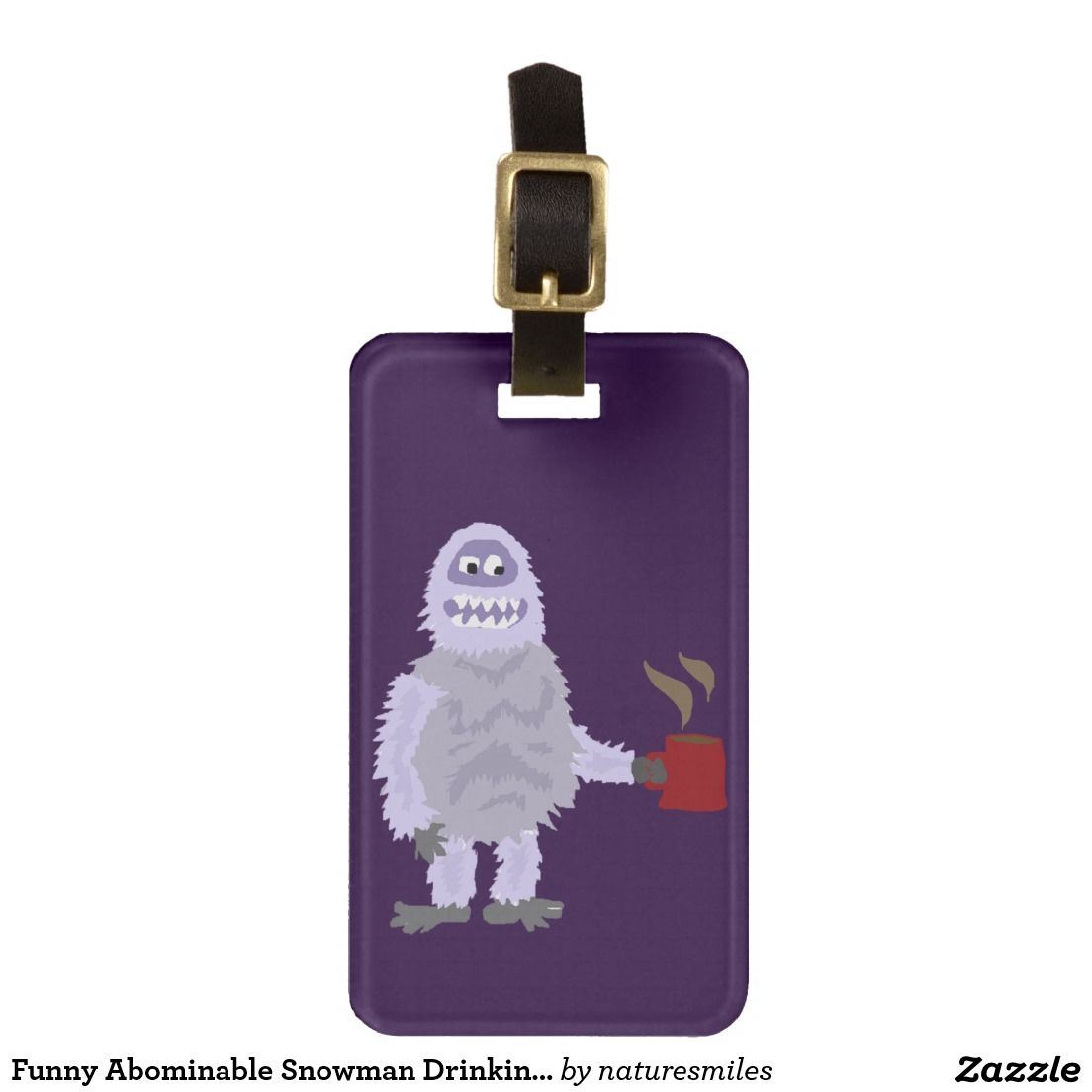 Funny Abominable Snowman Drinking Coffee Original Bag Tag