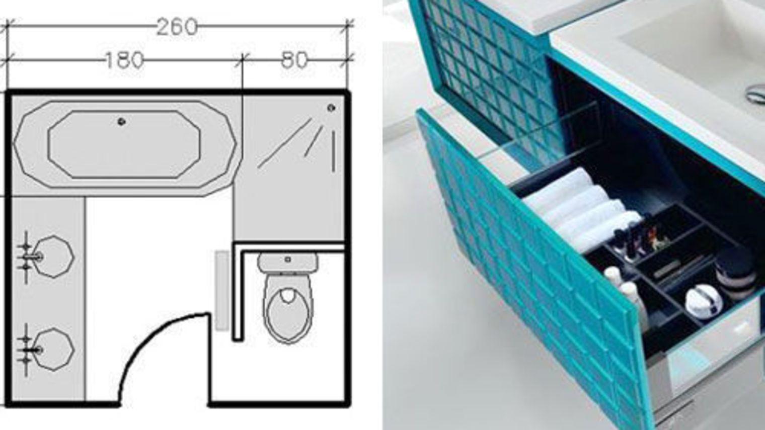 Plans salle de bains 3m 4m 5m 6m et plus for Petite salle de bain avec douche italienne et baignoire