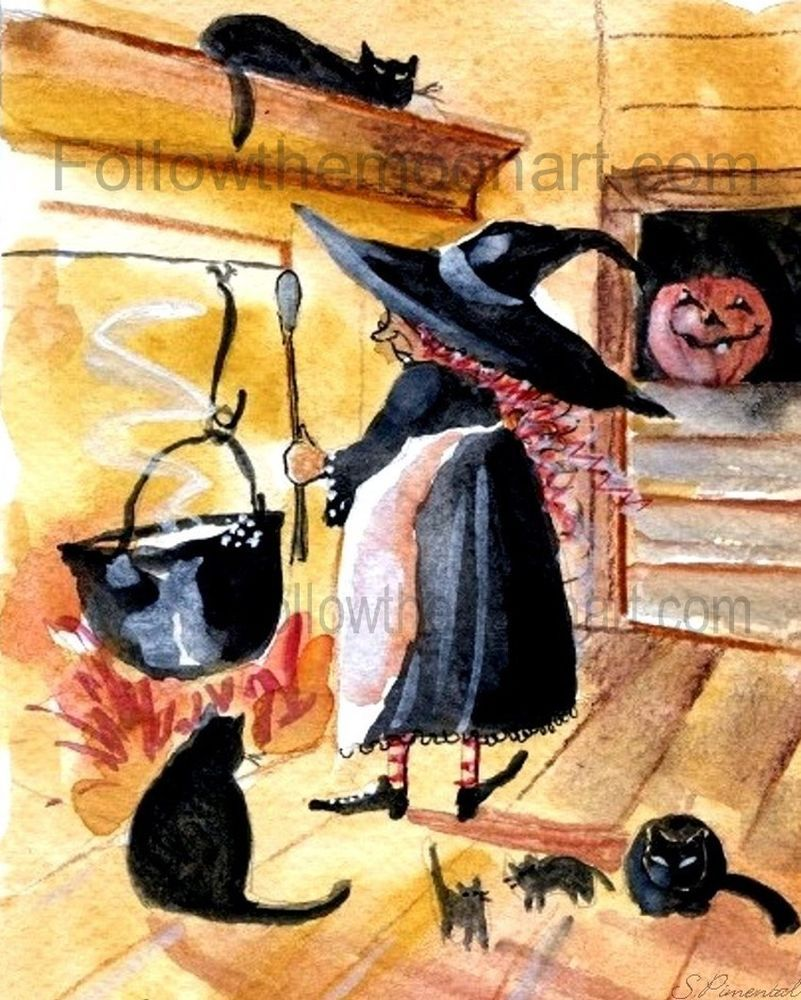 saturday night supper black cat halloween witch pumpkin wall art