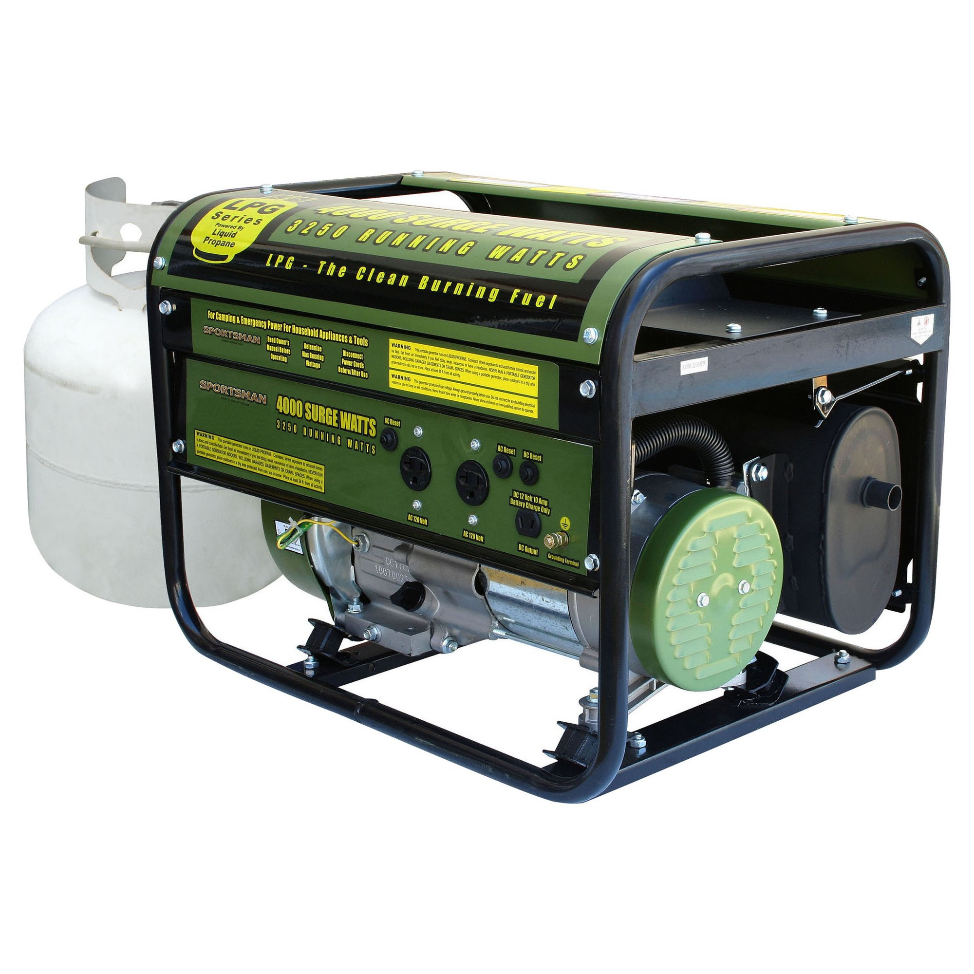 propane 4000 watt portable dual fuel generator carb approved green