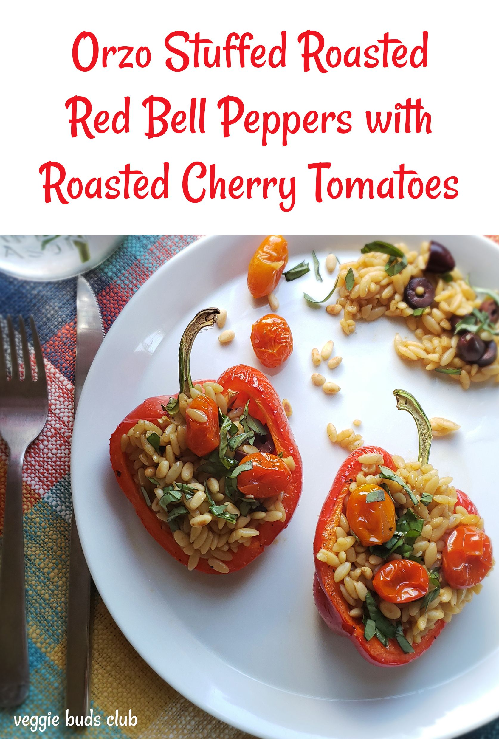 Orzo Stuffed Red Bell Peppers Stuffed Peppers Tasty Kids Meals Roasted Red Peppers