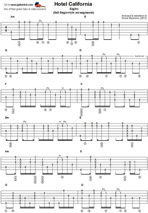 Hotel California Fingerstyle Guitar Tab Fingerstyle Guitar