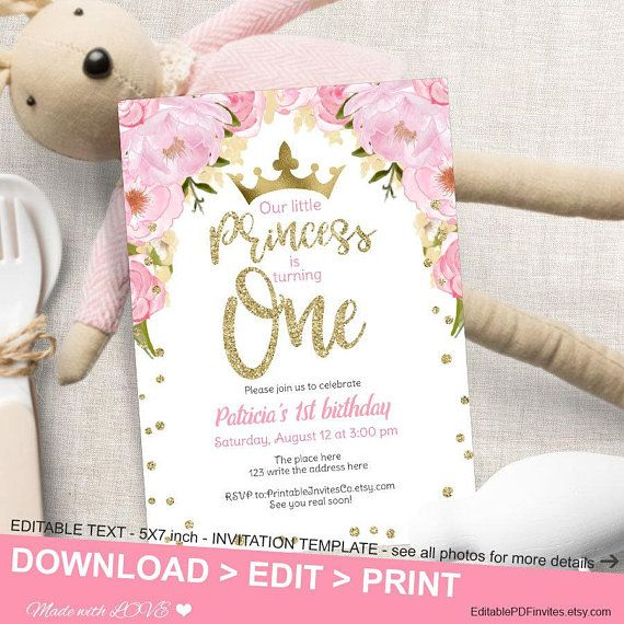 Princess Birthday Invitation Pdf First Editable