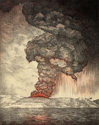 Dibujo de las erupciones de 1883 del Volcán Krakatoa -
