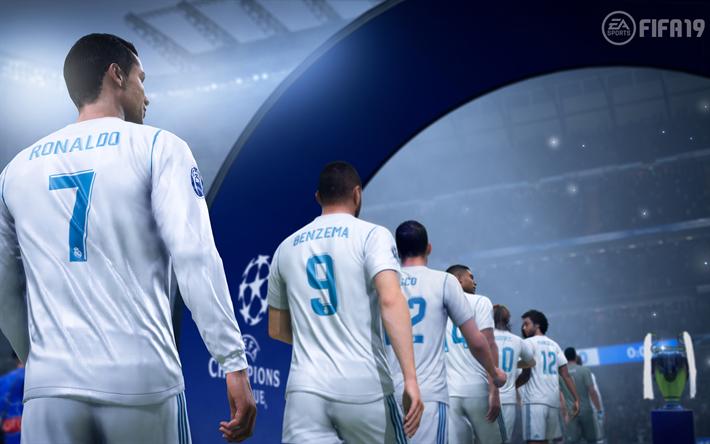 Download Wallpapers 4k Real Madrid Fifa19 Rapana 2018 Games Cristiano Ronaldo Karim Benzema Football Simulator Fifa 19 Besthqwallpapers Com Fifa Ronaldo Cristiano Champions League