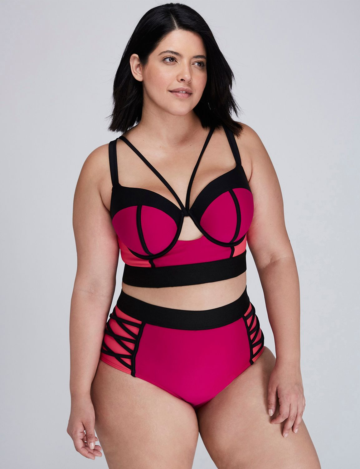 86610cc4bf8ed ... swimwear in full figure sizes. Colorblock Longline Bikini Top with  Built-In Balconette Bra