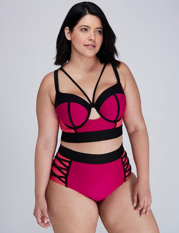 f28cd2779fd Colorblock Longline Bikini Top with Built-In Balconette Bra | Plus ...