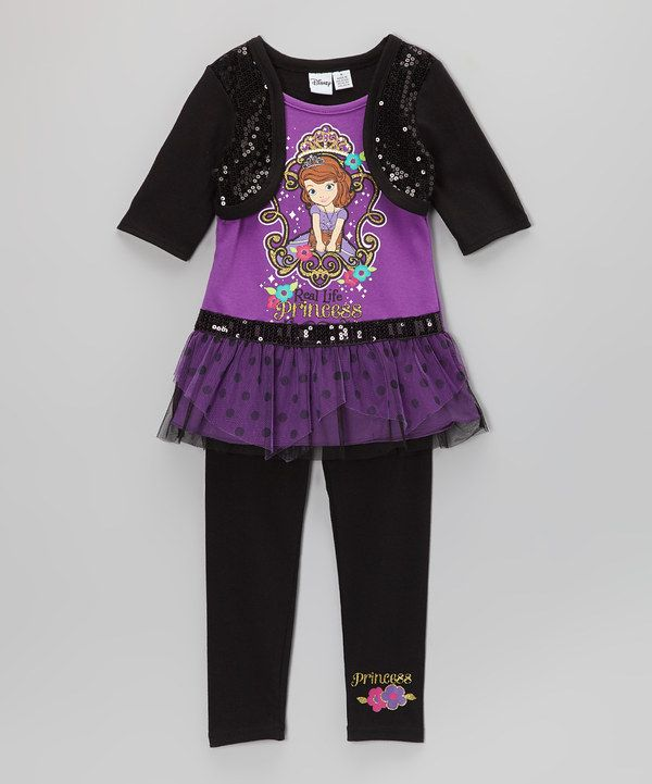 Take a look at this Purple   Black  Real Life Princess  Tunic   Leggings -  Girls on zulily today! 53f00dad8
