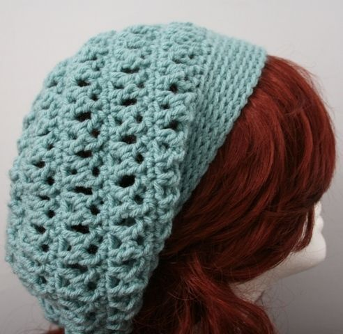 Free Crochet Slouch Hat Pattern | ... Slouch Slouchy Hat - Sea Foam ...