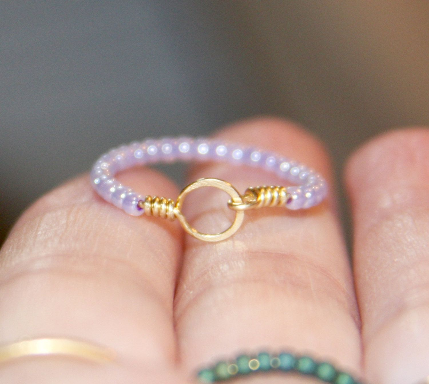 Stackable Thin Ring – Purple Beaded, Circle 14k Gold Filled Wire Wrapped Thin Ring, Beaded Ring, Gift Women, Gifts For Her, Handmade