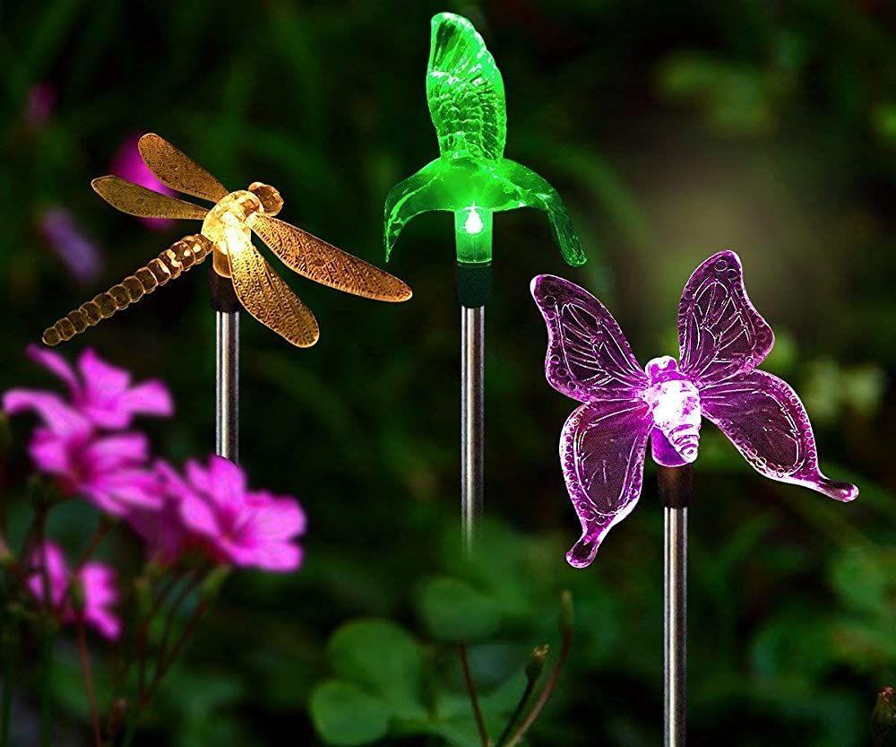 Solarleuchten Garten Solar Stableuchten Farbwechsel Led Libelle Kolibri Schmetterling Wasserdicht Solarl In 2020 Solarleuchten Solarleuchten Garten Lichterkette Garten