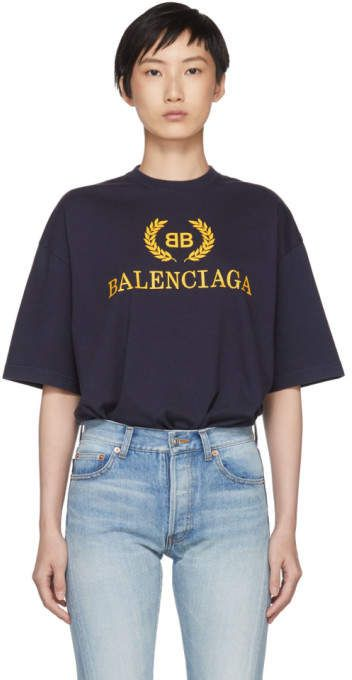 bb83245b Balenciaga Navy BB Crown Logo T-Shirt | d e s i g n e r in 2019 ...
