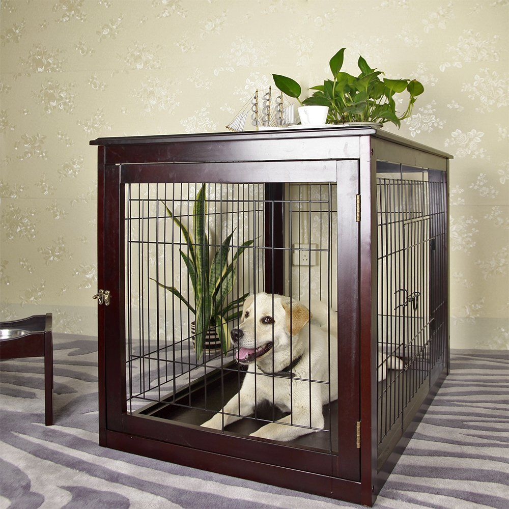 Petsfit Wooden Dog Cage Pet Cage With Durable Tray For