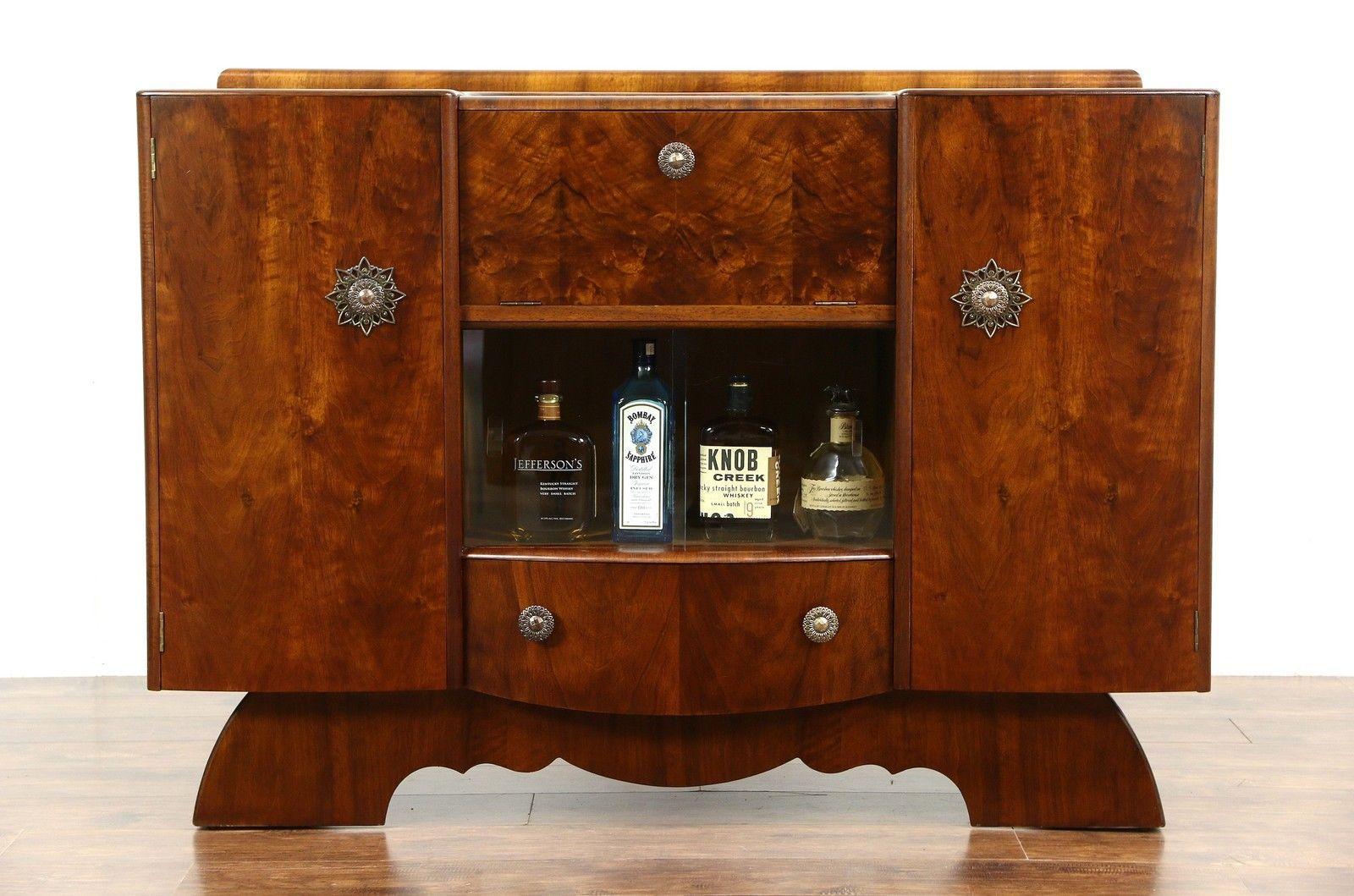 Genial Art Deco English Walnut 1940 Vintage Bar Cabinet | EBay