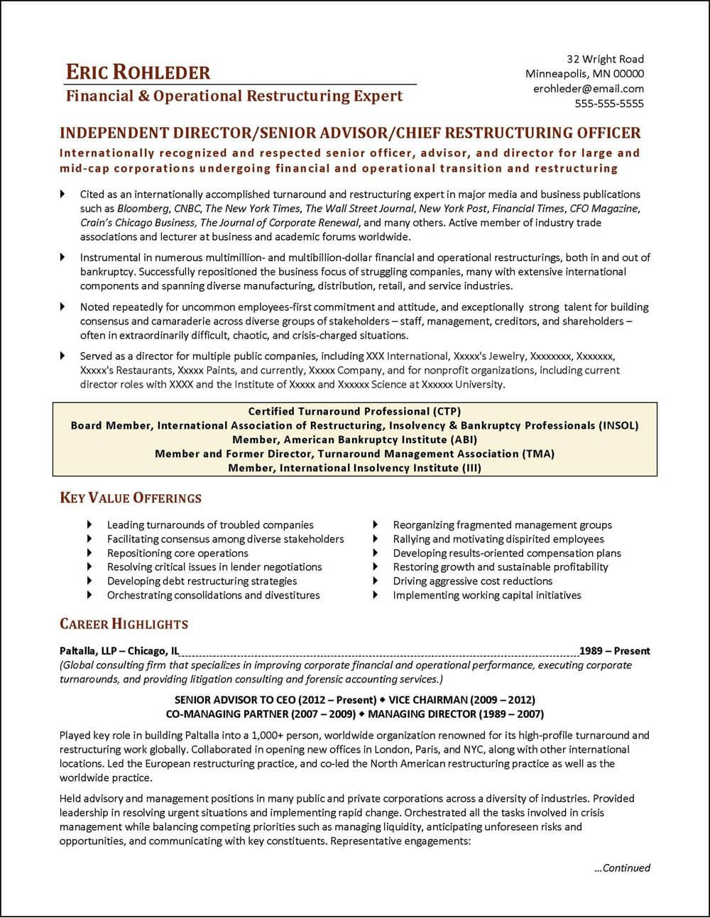 An executive resume written for a Chief Restructuring