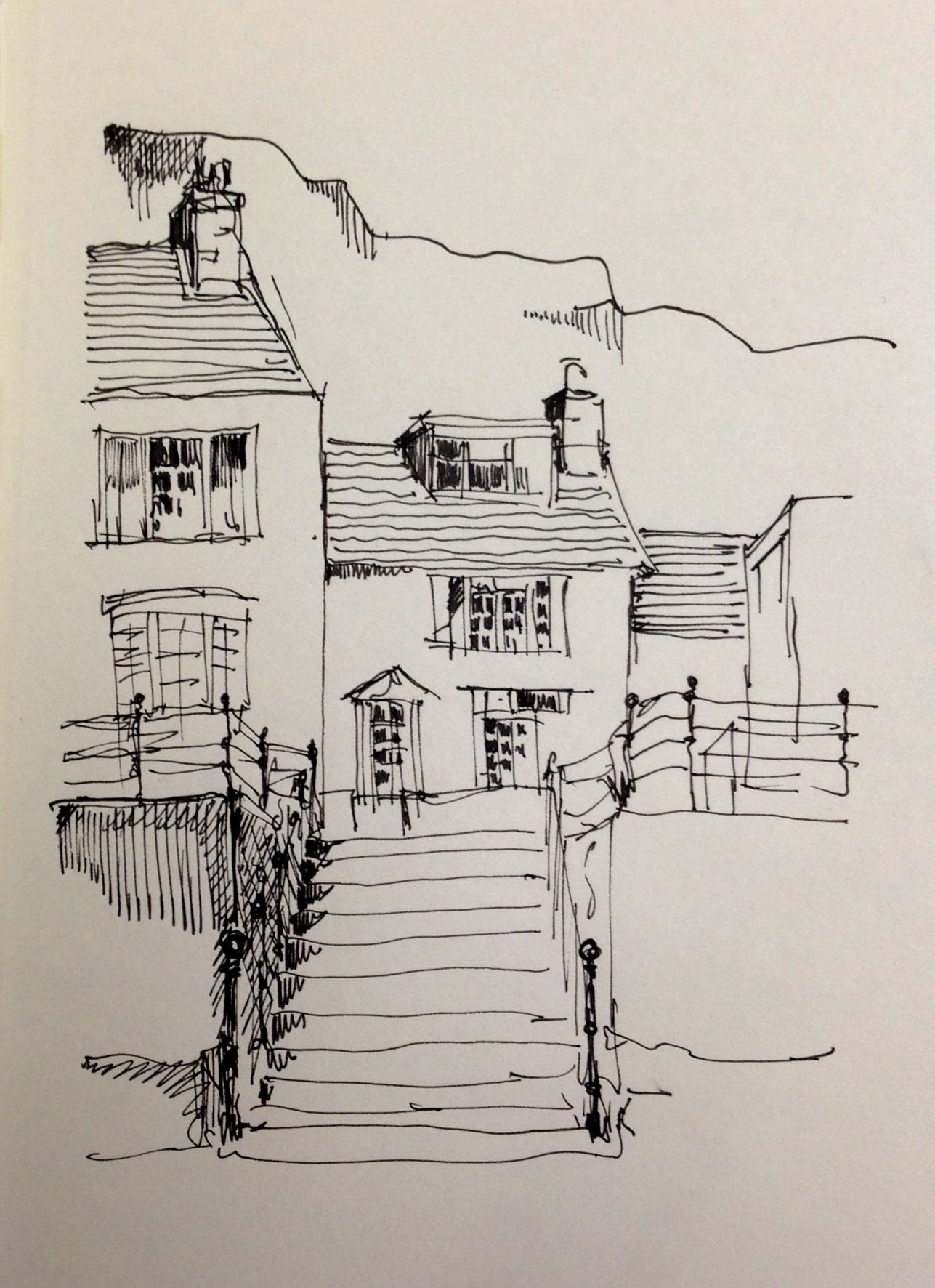 Harbour front cottages in staithes north yorkshire this is my original line sketch landscapesketch