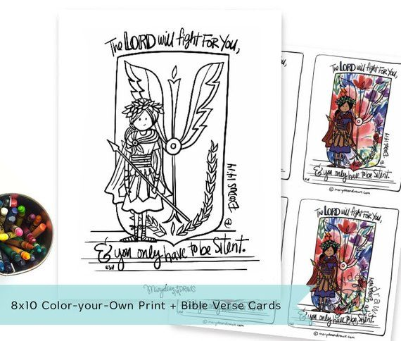 Printable Digital Download Hand Drawn The Lord Will Fight For You