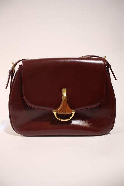 1e05d3092c8 Vintage 70 s GUCCI Leather Bag w Wooden Horsebit Clasp