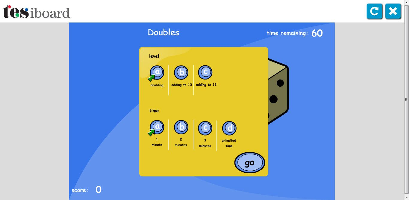 Fun, interactive online game by TES to double numbers. add 10 and 12 ...