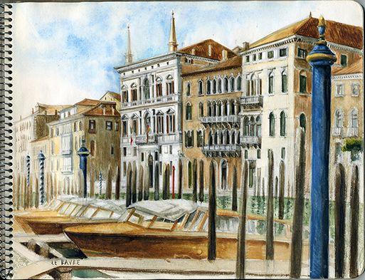 Venise Le Grand Canal Aquarelle Peinte Sur Le Motif Venice