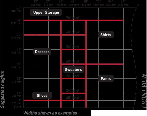Double Rod Closet Height Height Of Closet Chart