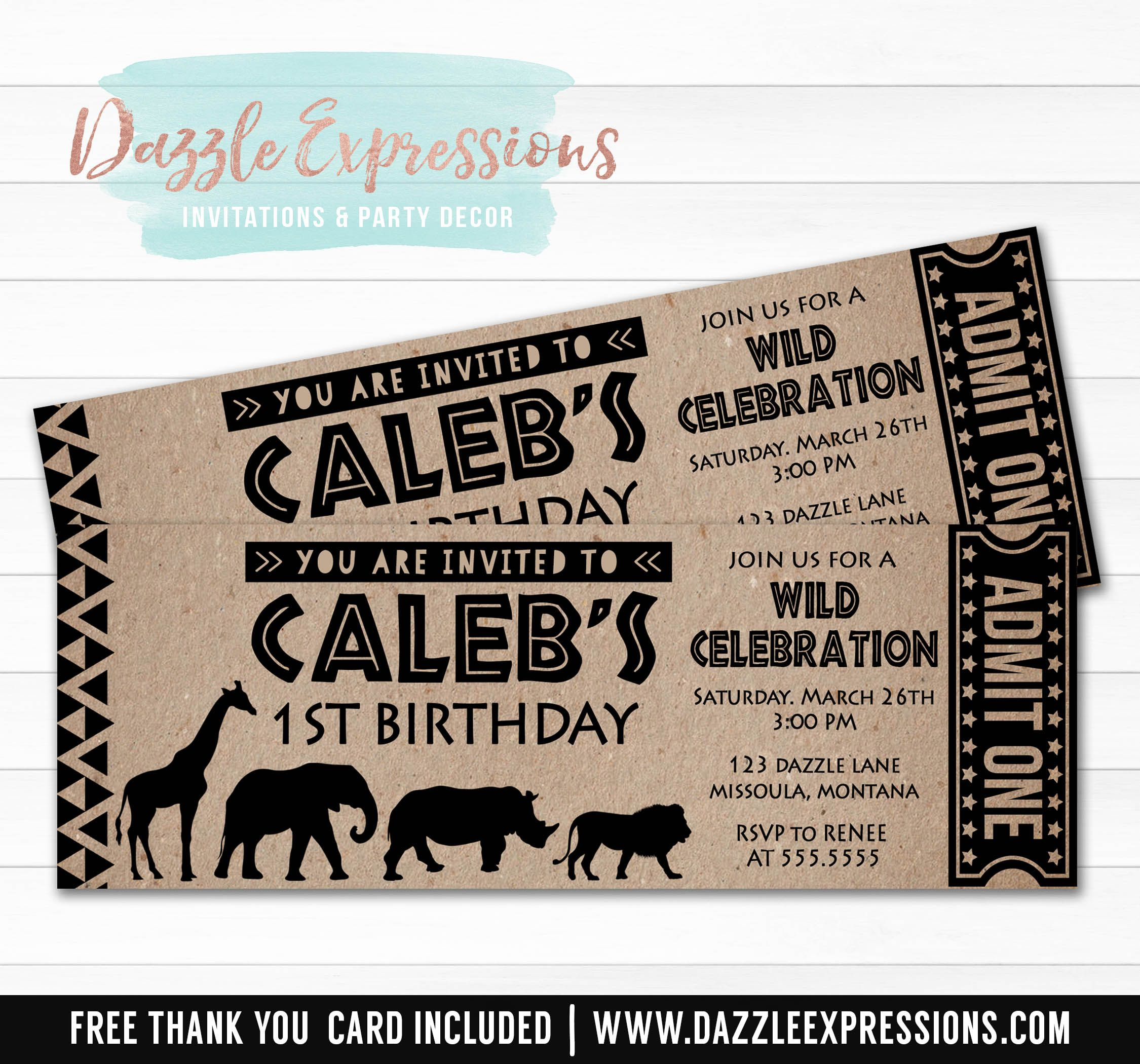 Printable African Safari Animal Ticket Birthday Invitation