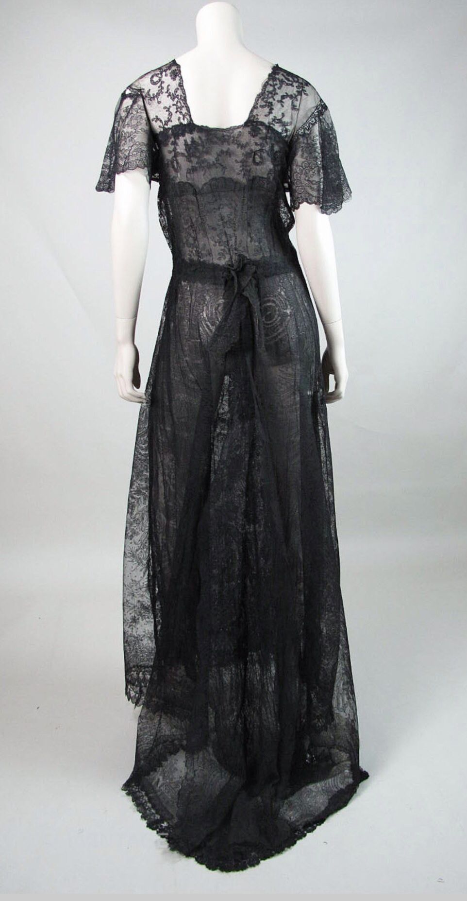 4a40ad87bcc Black lace Edwardian dress with train