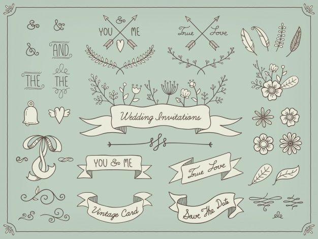 Hand drawn wedding elements Free Vector  Free Vector
