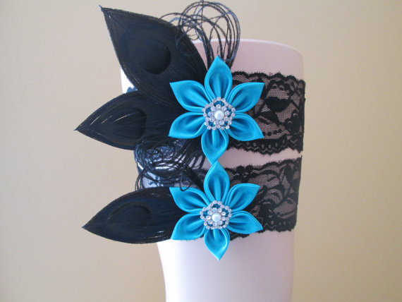 Teal Wedding Garter Set Black Lace Garters Peacock Bridal Turquoise Prom
