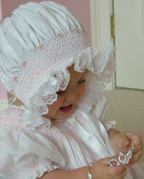 new baby girl baby white bonnet hat baby 3  pink satin bow  hand made