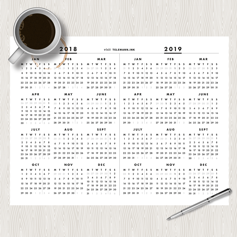 free full year single page 2018 2019 at a glance printable calendar week starts on monday free 2018 2019 calendar monday printable minimalist
