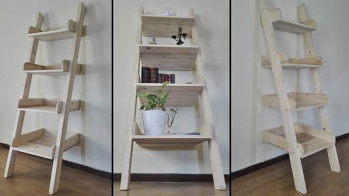 Ladder Styled Storage Wall Unit Http Creatorcreations Com Product Ladder Style Pallet Shelf Unit Raw Pallet Shelves Shelves Storage Furniture