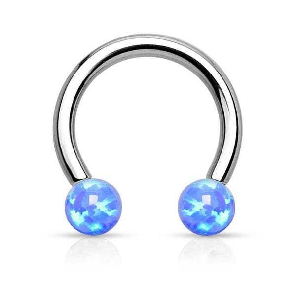 16G Curved Eyebrow Ring Barbell w// Opal Ball Surgical Steel Internally Threaded