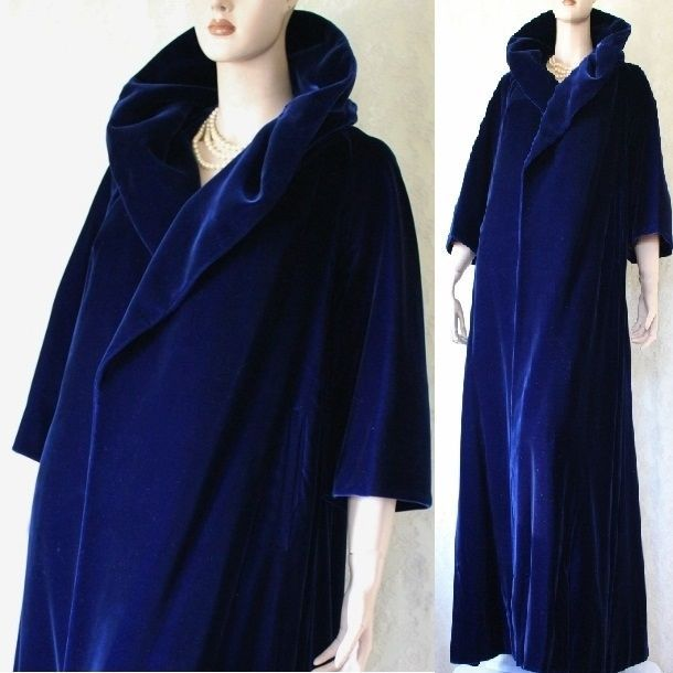 Vtg 50s does 20s BLUE VELVET Swing OPERA Goth Victorian Evening Long Coat OSFM #Unbranded
