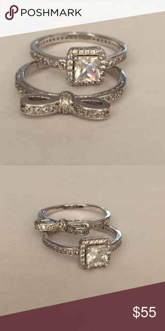 two pandora rings size 9 the bow and the elegant. Black Bedroom Furniture Sets. Home Design Ideas