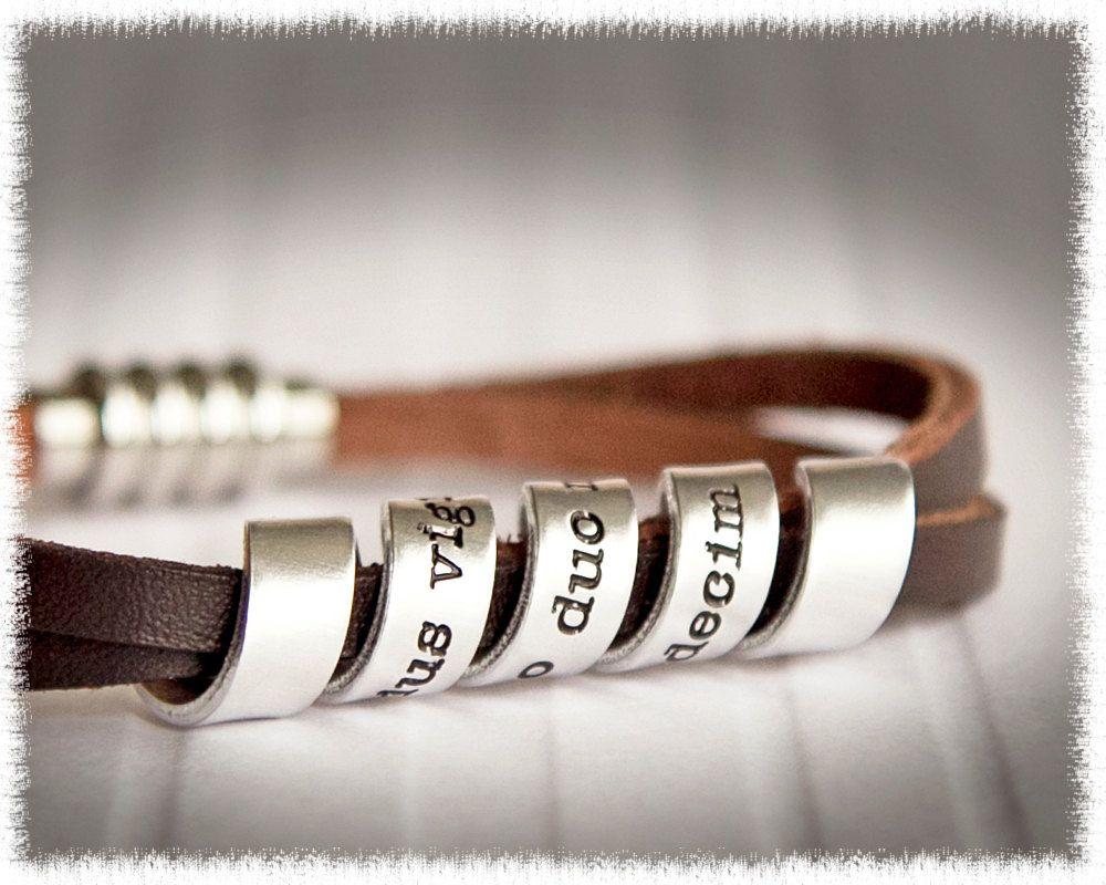 Men's Leather Bracelet  Men's Personalized Jewelry