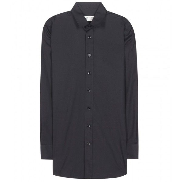 Saint Laurent Cotton Shirt ($425) ❤ liked on Polyvore featuring tops, black, yves saint laurent, black cotton top, black top, shirts & tops and cotton shirts