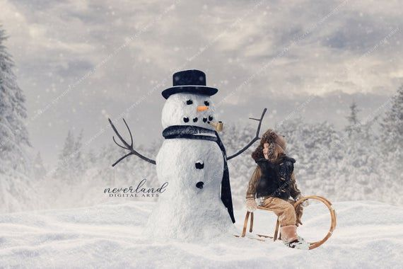 Mr. Snowman Winter Background for Photographers / Christmas Backdrop for Photography / Digital Downloads & Overlays #backdropsforphotographs