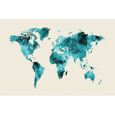 East urban home world map series shades of teal wo antarctica by east urban home world map series shades of teal wo antarctica gumiabroncs Images