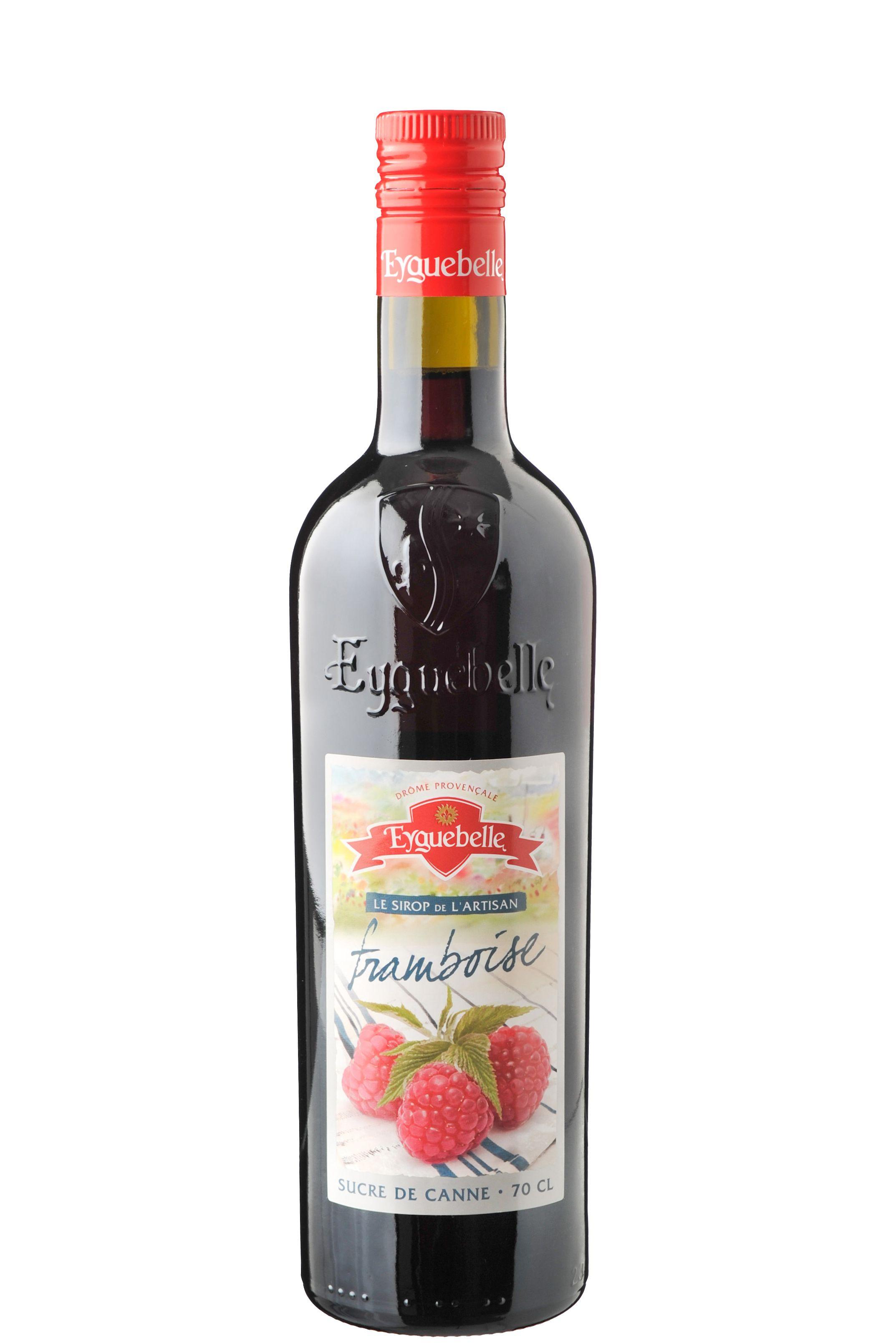 Frambozen siroop (Framboise) à 70 cl van Eyguebelle. Ga je op vakantie in de Drôme dan herken je deze flessen siroop vast. Ze zijn een begrip in Frankrijk en omstreken.  Deze frambozen siroop is een heerlijk verfrissende siroop. Frambozen zijn de perfecte smaakmaker voor desserts. De mooie rood-rosé kleur geeft een extraatje aan je dessert of drank.