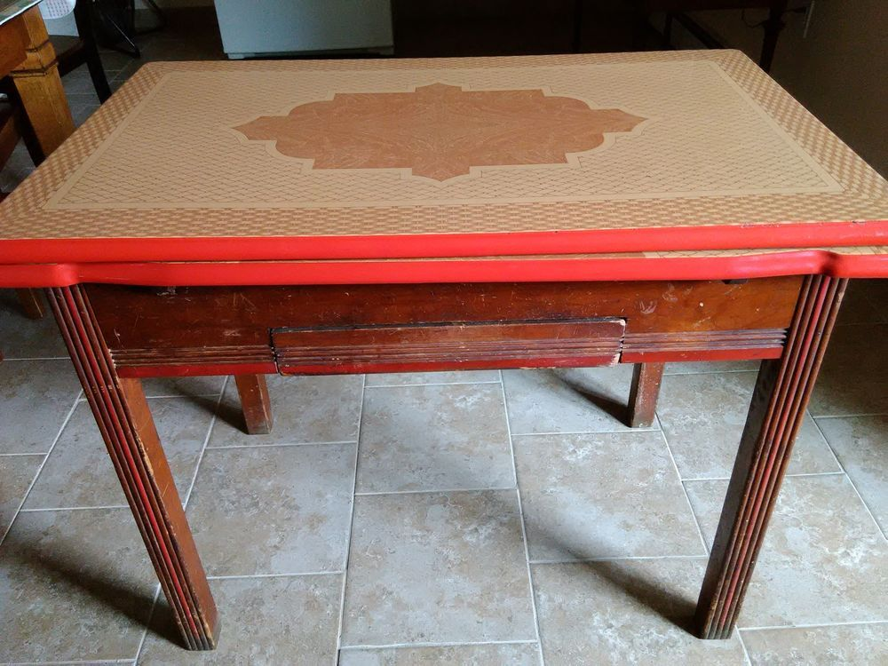 lovely antique kitchen table with porcelain enamel top