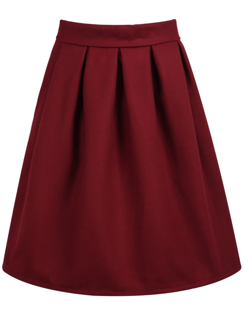 High Waist Wine Red Skirt