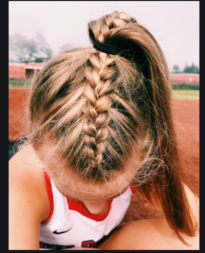 Softball Hair In 2020 Braided Hairstyles Volleyball Hairstyles Long Hair Styles